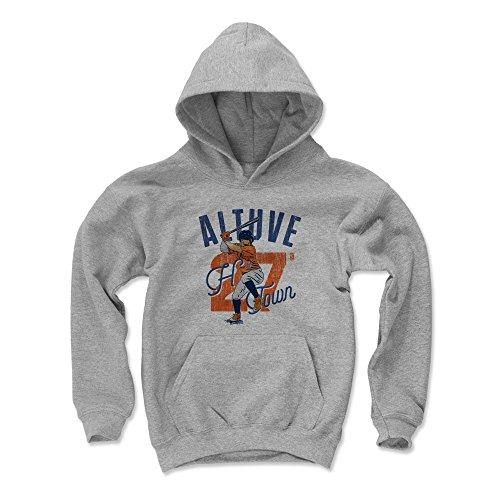 500 LEVEL Jose Altuve Houston Baseball Youth Sweatshirt (Kids Medium, Gray) - Jose Altuve Arch O