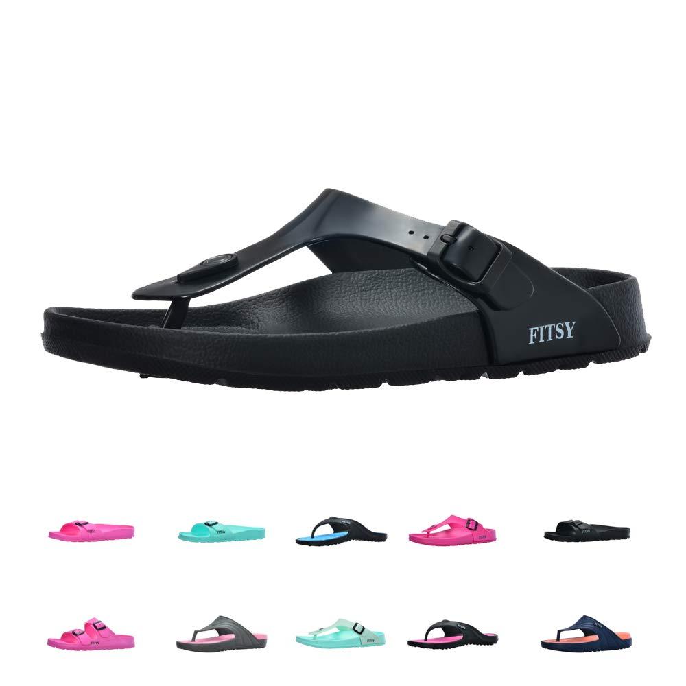 FITSY Cayla Women's Toe Post Flip-Flop Summer Holiday Indoor/Outdoor Gym Shower Garden Anti-Slip Pool Thong Beach Sandals (US 8, EU 39, UK 6, Black, M)
