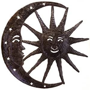 Le Primitif Galleries Haitian Recycled Steel Oil Drum Outdoor Decor, 33 by 33-Inch, Sun Moon Combo