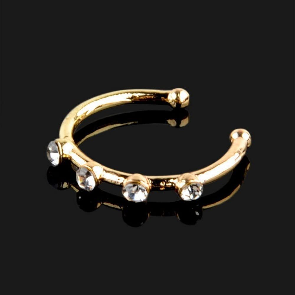 Greendou Fashion Jewelry Gold//Silver Thin Four Diamond Clear Crystal Nose Ring Stud Hoop-Sparkly Crystal Nose Ring Gold