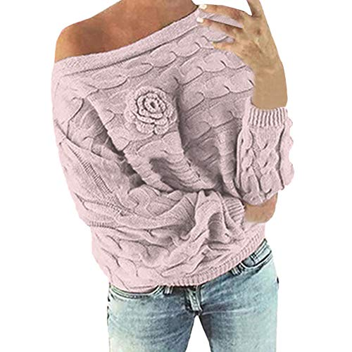 (PERFURM Sweater Women New Multicolor Striple Flower Blouse Off-The-Shoulder Casual Sexy Party Knitwear Shirt Top)