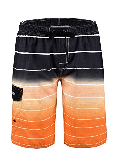 Unitop Men's Colortful Striped Swim Trunkslong Beach Board Shorts With Lining - Fashion Mens Beach