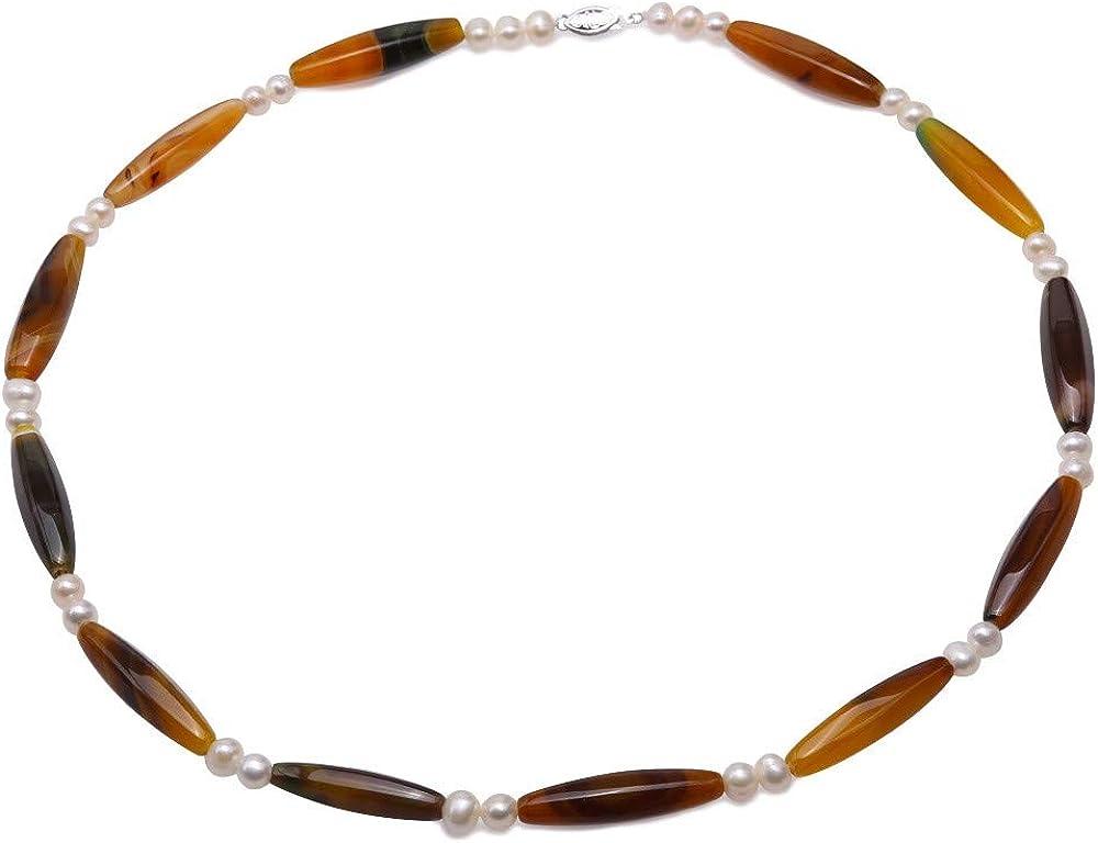 JYX Collar de ágata Piedras Preciosas de 10,5 x 40 mm Collar de Cuentas de ágata marrón con Perlas Blancas de 7-7,5 mm para Mujer 65 cm