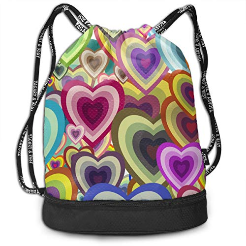 Colorful Hearts Drawstring Backpack Swiming Traveling Sackpack Large Capacity Beam Backpack, Home Travel Storage Use Gift For Men & Women, Girls Boys -
