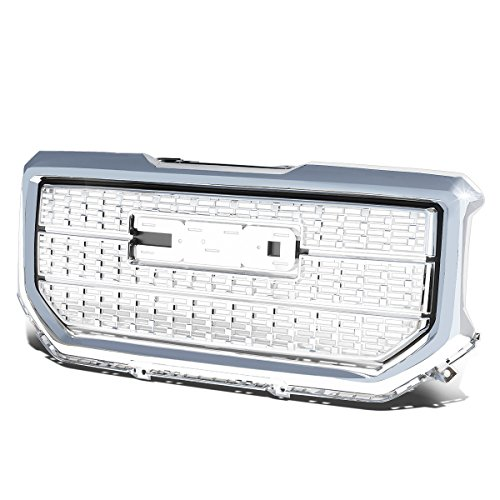 For GMC Sierra 1500 ABS Denali Style Front Bumper/Hood Grille/Grill (Chrome) ()