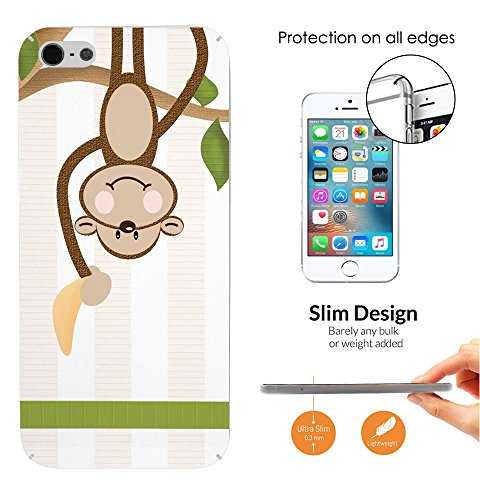 000754 - Cute Monkey Banana Design iphone 4 4S CASE Ultra Slim Light Plastic 0.3MM All Edges Protection Case Cover-Clear