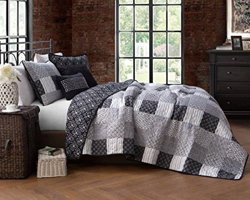 (Avondale Manor Evangeline 5-piece Quilt Set-King-Black)