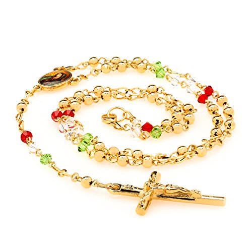 [Best Rosary Necklace, Tri-Color Crystal Prayer Beads, 24K Gold Overlay Catholic Crucifix Pendant and Virgin Mary Centerpiece, by Lifetime Jewelry] (Girls Virgin Mary Costume)