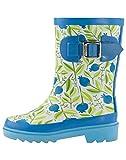 OAKI Kids Rubber Rain Boots, Sweet Blueberries, 10T US Toddler