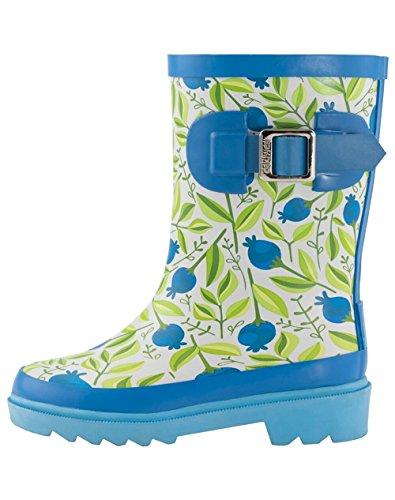 OAKI Kids Rubber Rain Boots, Sweet Blueberries, 4Y US Big Kid