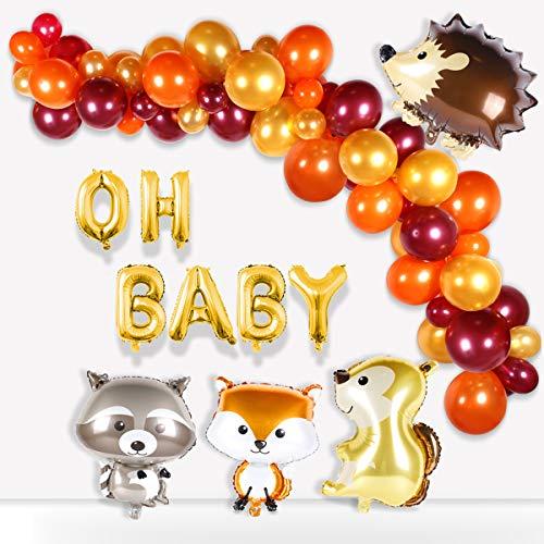 Woodland Baby Shower Balloon Garland - Woodland Creatures Balloon, Hedgehog, Squirrel, Fox, Raccoon, Latex Balloons for Baby Shower decorations ,Woodland Party Supplies,Boys/Girls birthday