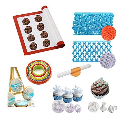 AK ART KITCHENWARE Bakeware Set 1pcs Baking Mat 1 Rolling Pin 1set Round Cookie Cutter 2pcs Quilt Embosser 2sets Christmas Holly Snowflake Plunger Fondant Cutter