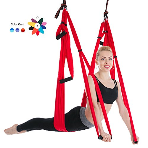 400 Inversion Tables (Ranbo aerial yoga trapeze set Ultra Strong Antigravity Yoga Swing / Hammock Holds Up to 400 Pounds for Inversion Exercises Pilate Fitness Flexibility Core Strength Weight Loss (red))