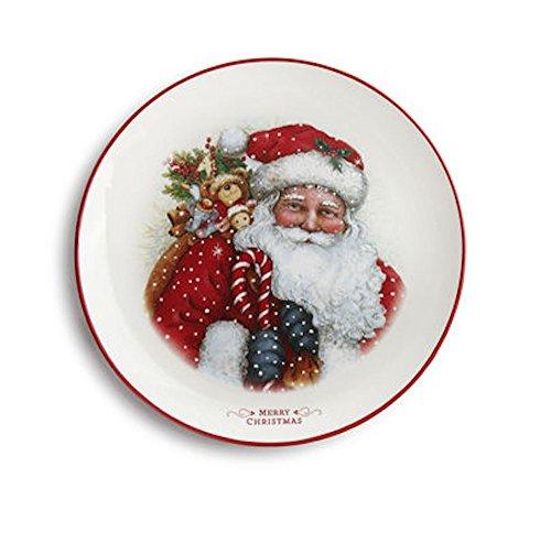 Tabletop SANTA MERRY CHRISTMAS PLATTER. Holiday Sherri Buck Baldwin 2020160321 (Round Platter Santa)