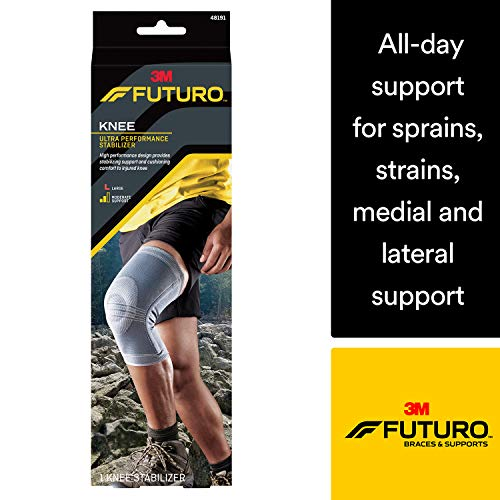 (Futuro Active Knit Knee Stabilizer, Moderate Stabilizing Support, Large, Gray)