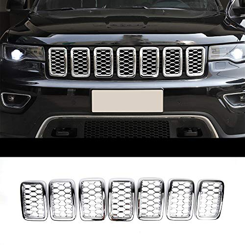 RT-TCZ 7PCS Front Grill Mesh Inserts,Rings Covers Inserts Kit for 2017 2018 2019 Jeep Grand Cherokee (Chrome)