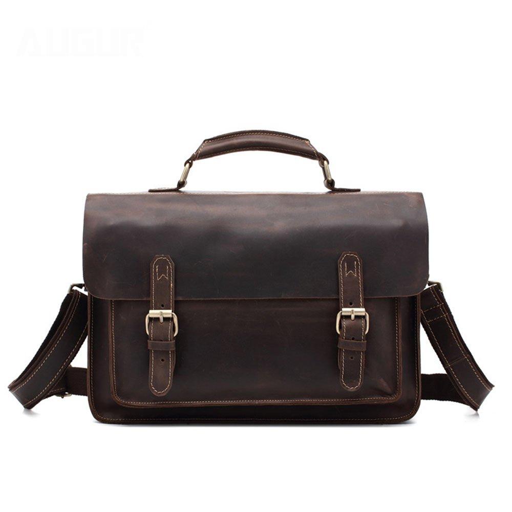 Amyannie Laptop Messenger Bag Brown Vintage Cowhide Messenger Bag 13''Laptop Briefcase Satchel Shoulder Handbag Bookbag w Detchable Strap