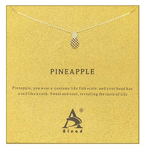ALEAD Women Pineapple Snow Mountain Friendship Elephant Cactus Diamond Snowflake Butterfly Life Tree Luck Stainless Steel Pendant Gift Clavicle Necklace with Message Gift Card (Pineapple-Gold) ()
