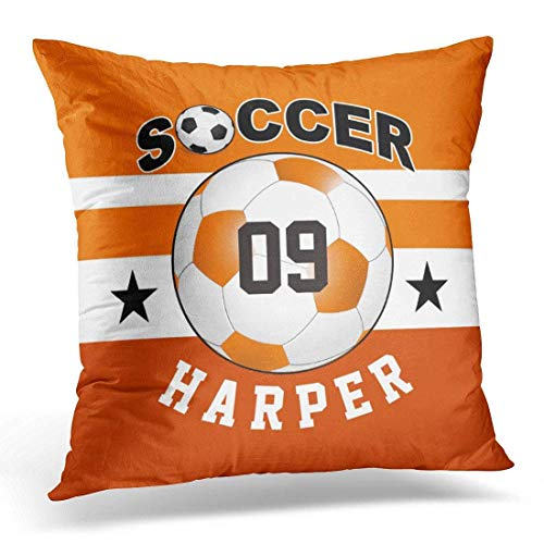 Lovwepilo Throw Pillow Cover Ball Soccer Sports Jersey Custom Name Number Team Decorative Pillow Case Home Decor Square Pillowcase Square Pillow Covers for Sofa 18