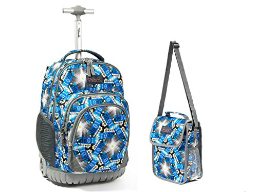 Tilami New Antifouling Design 18 Inch Wheeled Rolling Backpack Luggage and Lunch Bag,Star Shining 1