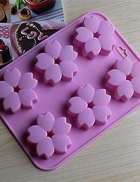 6 Agujeros moldes Tarta de figura Flores de cerezo Chocolate gelatina hielo, silicona 15 ×