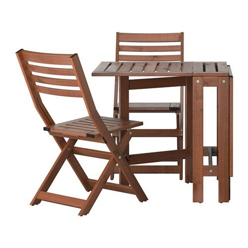 Ikea Table and 2 folding chairs, outdoor, brown stained 2202