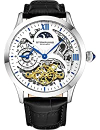 Stührling Original Mens Stainless Steel Automatic Watch, White Skeleton Dial, Blue Accents Dual Time, AM/PM Sun...