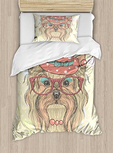 Ambesonne Yorkie Duvet Cover Set Twin Size, Be Cute Portrait of an Adorable Dog with Earrings Necklace Glasses Hat Makeup, Decorative 2 Piece Bedding Set with 1 Pillow Sham, Light Brown Coral ()