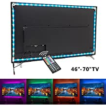 White PCB TV backlight , Nexlux LED TV Lights USB Kit 5050 RGB Multicolor Back Lightings Strip with 44-key IR Remote Controller for 46inch~60inch HDTV PC Monitor Home Theater Decoration