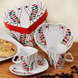Heart Shaped Espresso Set of 2 Cups And 2 Saucers - 108 Sets