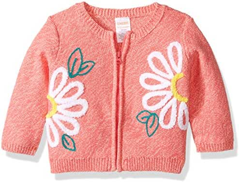 Gymboree Baby Boys' Toddler Girls' Zip Sweater with Floral Detail