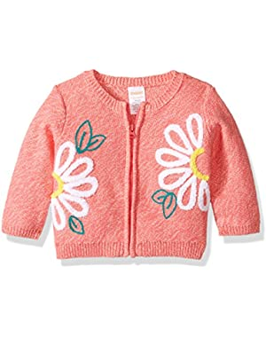 Baby Boys' Toddler Girls' Zip Sweater with Floral Detail