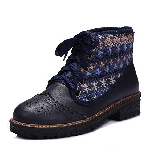 AllhqFashion Damen Rund Zehe Niedrig-Spitze Hoher Absatz Gemischte Farbe Stiefel, Blau, 43