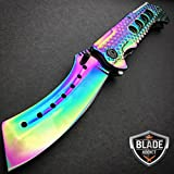 9″ TACTICAL Razor Spring Assisted Open Folding Pocket Knife RAINBOW CLEAVER New Review