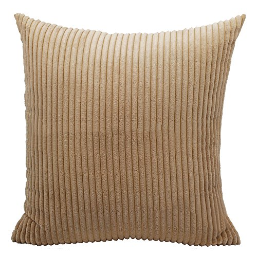 Kaimao Square Throw Pillow Cover Corduroy Striped Cushion Case For Decorative Home Sofa Bedroom, 26 x 26 inch, Camel