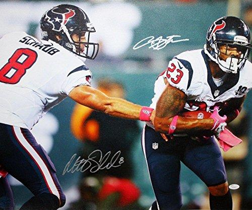 Arian Foster Autographed Photograph - Matt Schaub 20x24 Off Canvas W - JSA Certified - Autographed NFL Photos