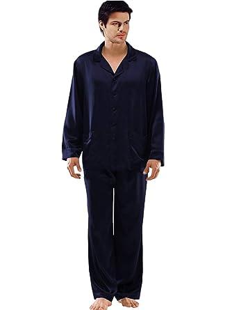 4d76d60167b670 ElleSilk Seide Pyjama Set für Herren, Seide Schlafanzug Lange Ärmel, 100%  Maulbeerseide von 22 Momme, Navyblau: Amazon.de: Bekleidung