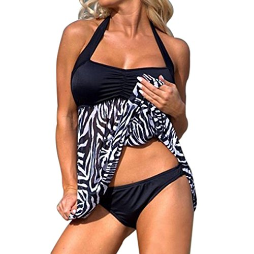 Keepfit Women Plus Size Tankini Swimwear, Push-up Swim Dress Two Piece Swimsuit Beachwear Hot Sale (XXXL, Black) ()