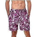 NUWFOR Men Casual 3D Graffiti Printed Beach Work Casual Men Short Trouser Shorts Pants(Multi Color,US:S Waist26.0-29.9'')