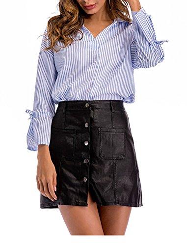 Flare Femme Tops JackenLOVE Col Sleeve t Haut Fashion Rayure V Shirts Chemisiers Blouses Bleu Casual vwSwqxC