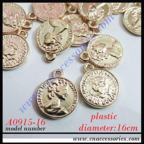 Dalab Plastic 16mm Human Head Pendant,50pcs/lot,Gold Color,Mary Head deocoration,Punk Accessories for Garment Jewelry Making DIY