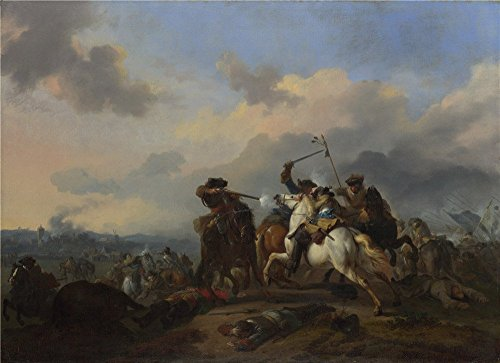 - Perfect Effect Canvas ,the Imitations Art DecorativeCanvas Prints Of Oil Painting 'Jan Van Huchtenburgh A Battle ', 16 X 22 Inch / 41 X 56 Cm Is Best For Bar Artwork And Home Artwork And Gifts