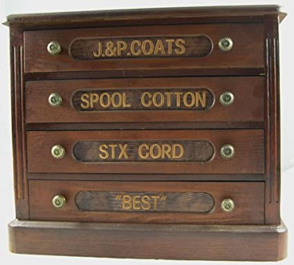 Awesome 4 Drawer Wooden Sewing Spool Cabinet