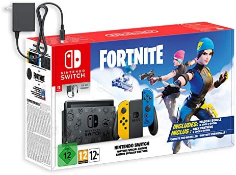 Switch Battle Royale FN Wildcat Edition with US Version AC Adapter, 128GB MicroSD Card, Mytrix Screen Protector - Pre-Installed Game, Epic Outfits and 2000 V-Bucks Included