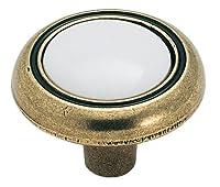 Amerock BP76244-WB  Antique Brass Knob with White Ceramic Center