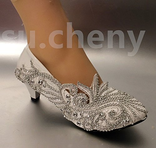 JINGXINSTORE Lace White Crystal Guantes de Boda Novia Low Heels tamaño 5