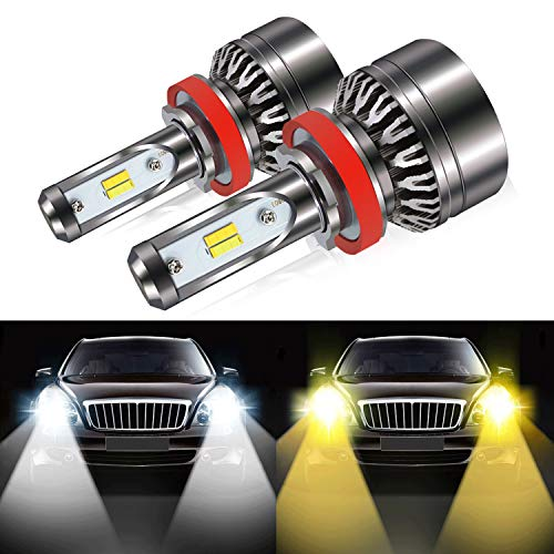 H11 Led Headlight Bulb, 8000LM Extremely Bright Dual Color (6000K/3000K) Anti-Flicker H8 H9 Conversion Kit Halogen Bulbs Replacement - Cool White/Golden Yellow - 2 Years Warranty