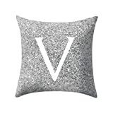 Letter Pillow Case Covers Metallic Throw Pillow Case 18x18'' A-Z Letter Alphabets Cushion Cover Polyester Pillowcase for Home Sofa Couch Decor (V)