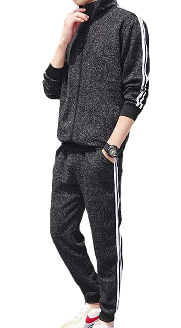 Fubotevic Men 2 Pieces Full Zipper Striped Jacket and Workout Pants Sweatsuit