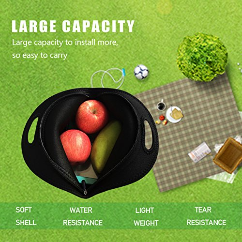 Lunch Tote, OFEILY Lunch boxes Lunch bags with Fine Neoprene Material Waterproof Picnic Lunch Bag Mom Bag (Black) by Ofeily (Image #4)